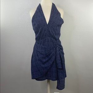 Lush navy polkadot halter dress, new with tags